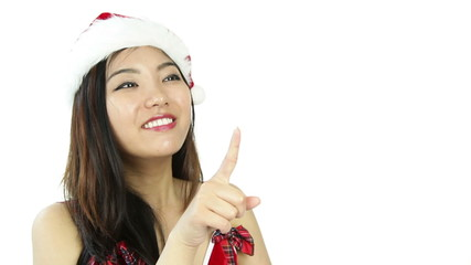 sexy santa claus isolated on white smiling and pointing
