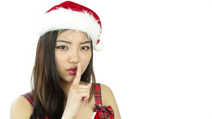 sexy santa claus isolated on white worried silence
