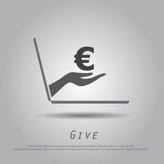 hand hold  euro  from laptop vector icon
