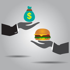hand exchanging money and  hamburger vector icon