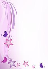 Decorazione viola farfalline e fiori