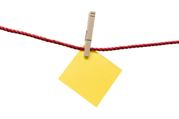 Bright Yellow Blank Note Hanging On Rope With Clothespin