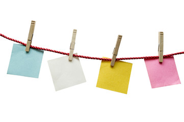 Textured Blank Paper Hanging On Rope Isolated