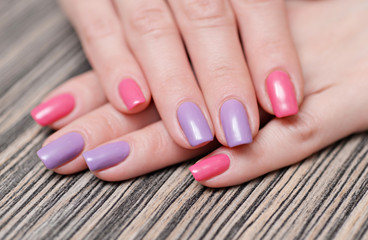stylish manicure with colored nail polish