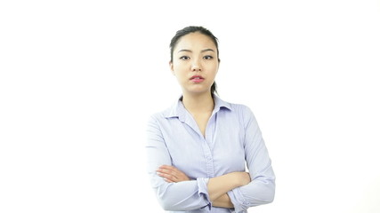 asian business woman isolated on white upset with arms crossed