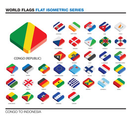 flags of the world, c-i,  3d isometric flat icon design