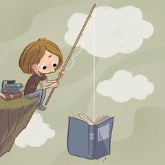 niño pescando libros