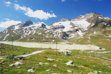 Bernina Pass, view of the Swiss Alps, Switzerland