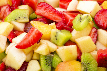 Fresh sliced of various fruit close up background