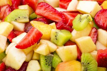 Fresh sliced of various fruit close up background