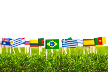 Paper cut of flags on grass for Soccer championship 2014