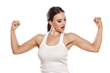 pretty young woman showing her beautiful arms