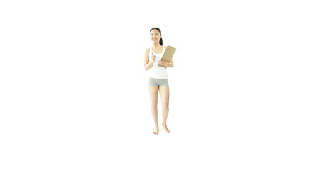 sport girl isolated on white confident with check list