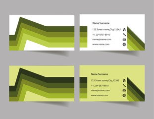 Two green business card vector illustration