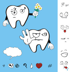 molar dental tooth cartoon set vector expression1
