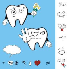 molar dental tooth cartoon set vector expression1