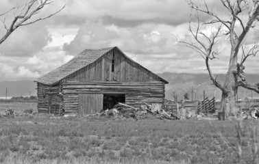 Rural Farmland in America with Old Barn