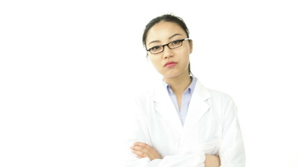 scientist doctor isolated on white upset with arms crossed