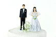 canvas print picture - bride and groom on wedding cake tier