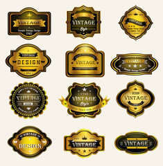Glossy black gold vintage and retro badges design with sample te