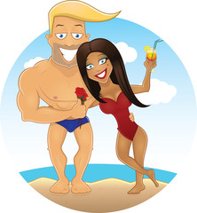 Vector cartoon sexy guy and girl on the beach