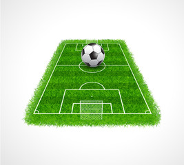 Perspective view of soccer field with realistic grass texture