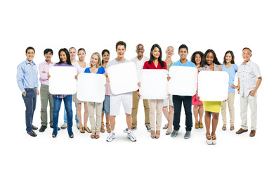 Group Of People Holding Blank Boards