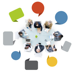 Group of Business People in a Meeting with Speech Bubbles