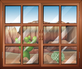 A closed window at the desert
