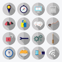 Business office elements icons vector