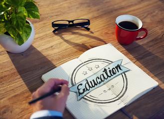 Businessman Brainstorming About Education