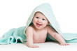 Funny baby boy in blue towel