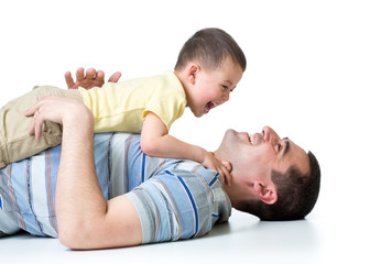 happy kid boy and dad play isolated on white