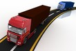 Trucks on freeway. Concept of delivery and transporting