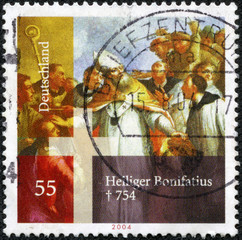 stamp printed in Germany shows Saint Boniface