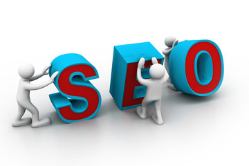"3d people and word ""seo"".."