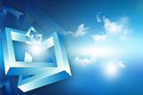 Abstract 3d Geometrical background . - 65834614