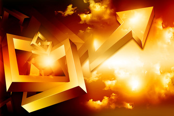 Moving business arrow graph on abstract background