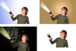 Child with a flashlight