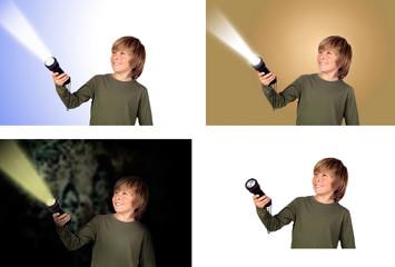 Child with a flashlight