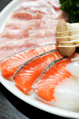 Raw fresh Salmon slice and premium beef in BBQ Dinner Set