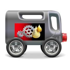 Vector Motor Oil on Wheels