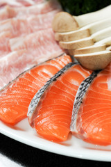 Close up Raw fresh Salmon slice in BBQ Dinner Set