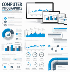 Information technology statistics infographic elements vector