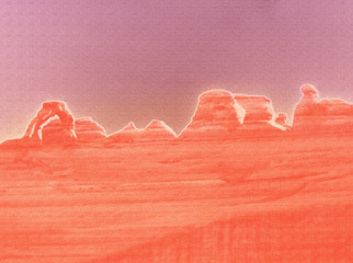 A digitally altered image of Arches National