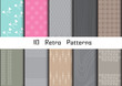 10 Retro different vector seamless patterns