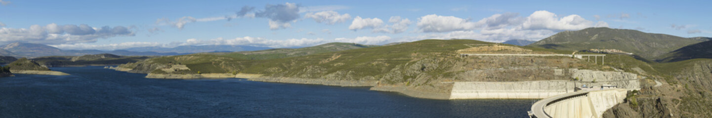 Panorama. Landscape with reservoir and dam. Atazar area
