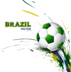 Beautiful Brazil flag concept grunge wave card Soccer background