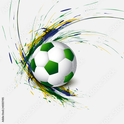 Beautiful Brazil flag concept grunge wave card colorful Soccer b