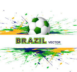 Soccer beautiful texture with Brazil colors grunge splash. backg